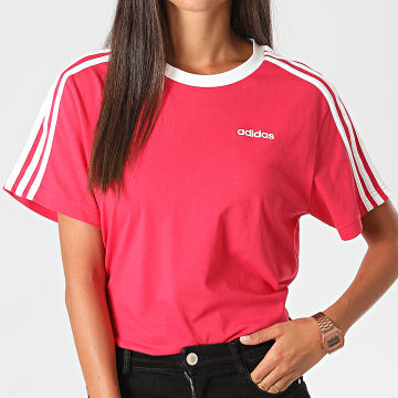 adidas - Tee Shirt Femme A Bandes Essentiel Boyfriend GL6334 Rose Fushia Blanc