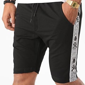 BB Salazar - Short Jogging A Bandes BB18122A Noir Blanc