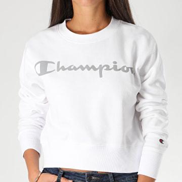 Champion - Sweat Crewneck Femme Réfléchissant 113286 Blanc