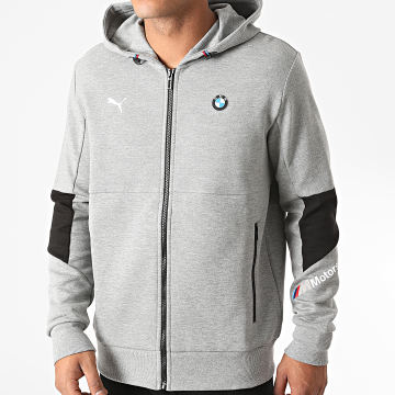 Puma - Sweat Zippé Capuche BMW Motorsport 598001 Gris Chiné
