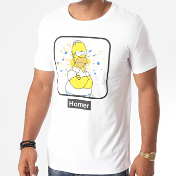 The Simpsons - Tee Shirt Homer Portrait Blanc