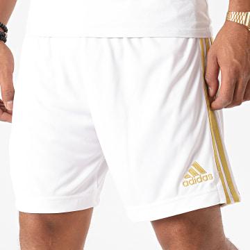 Adidas Performance - Short Jogging A Bandes EI9899 Blanc Doré