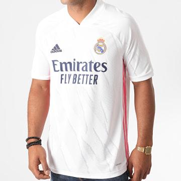 Adidas Performance - Tee Shirt Col V A Bandes Real Home FM4735 Blanc