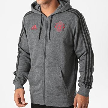 Adidas Performance - Sweat Zippé Capuche A Bandes Manchester United FR3847 Gris Anthracite Chiné