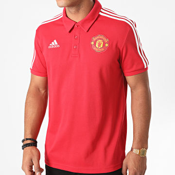 Adidas Performance - Polo Manches Courtes A Bandes Manchester United FR3854 Rouge