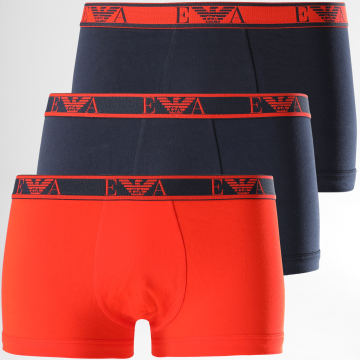 Emporio Armani - Lot De 3 Boxers 111357-0A715 Orange Bleu Marine