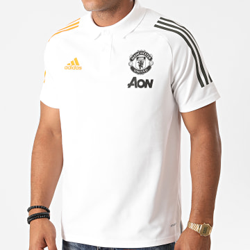 Adidas Performance - Polo Manches Courtes A Bandes Manchester United FR3654 Blanc