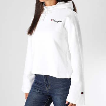Champion - Sweat Capuche Femme Crop 113186 Blanc