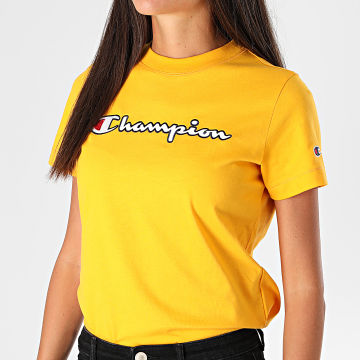 Champion - Tee Shirt Femme 113194 Jaune Moutarde