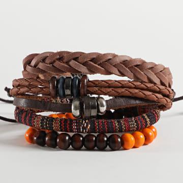Deeluxe - Bracelet Multi-rangs Authentic Marron Orange