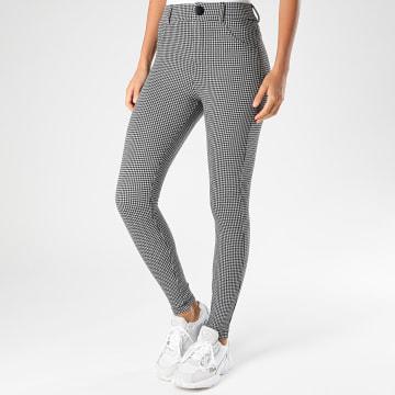 Only - Pantalon Femme Taylor Check Blanc Noir