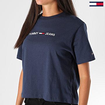 Tommy Jeans - Tee Shirt Femme Modern Linear Logo 8615 Bleu Marine