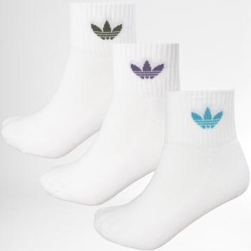 Adidas Originals - Lot De 3 Paires De Chaussettes De Sport Mid Ankle GD3572 Blanc