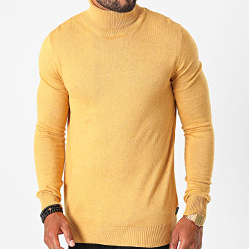 Jack And Jones - Pull Col Roulé Emil Jaune Moutarde Chiné