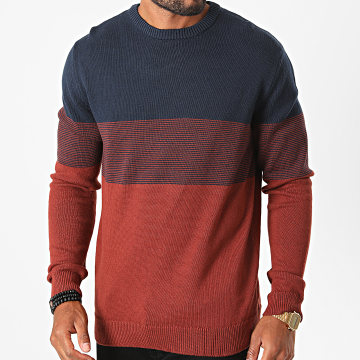 Only And Sons - Pull Hilbert Life Brique Bleu Marine