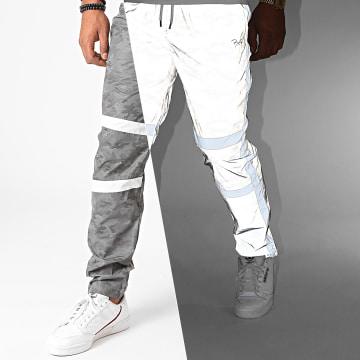Project X - Pantalon Jogging Réfléchissant Camouflage A Bandes 2040091 Gris Blanc