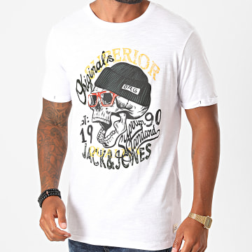 Jack And Jones - Tee Shirt Calotte Blanc Chiné