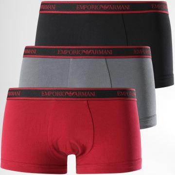 Emporio Armani - Lot De 3 Boxers 111357-0A717 Gris Noir Bordeaux
