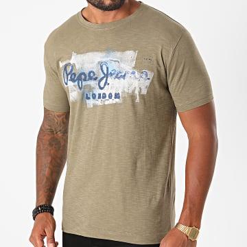Pepe Jeans - Tee Shirt Golders Vert Kaki Chiné
