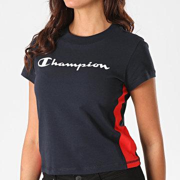 Champion - Tee Shirt Femme A Bandes 113384 Bleu Marine