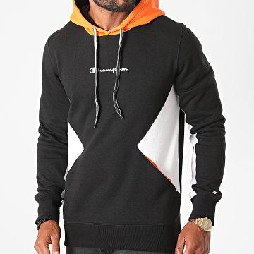 Champion - Sweat Capuche Tricolore 214815 Noir Orange Blanc