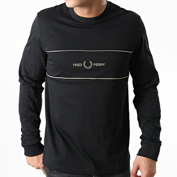 Fred Perry - Tee Shirt Manches Longues Embroidered Panel M9593 Noir Doré