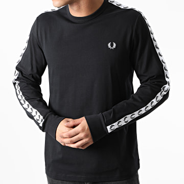Fred Perry - Tee Shirt Manches Longues A Bandes Taped M9673 Noir