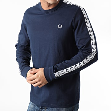 Fred Perry - Tee Shirt Manches Longues A Bandes Taped M9673 Bleu Marine