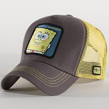 Capslab - Casquette Trucker Spongebob Gris Jaune