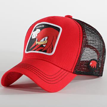 Capslab - Casquette Trucker Knuckles Rouge Noir