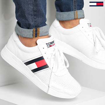 Tommy Hilfiger - Baskets Flexi Perf Leather Runner 0580 White