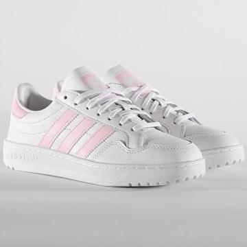Adidas Originals - Baskets Femme Team Court FW5071 Footwear White Cloud Pink