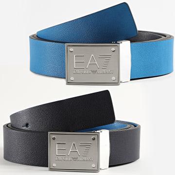 EA7 - Ceinture Réversible 245524 Noir Bleu Roi