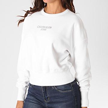 Calvin Klein - Sweat Crewneck Femme Institutional Back 4431 Blanc Argenté