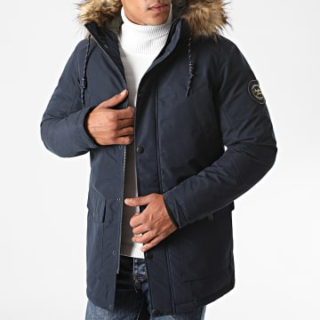 Jack And Jones - Parka Fourrure Sky Bleu Marine
