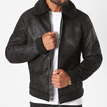 Jack And Jones - Blouson Col Mouton Light Noir