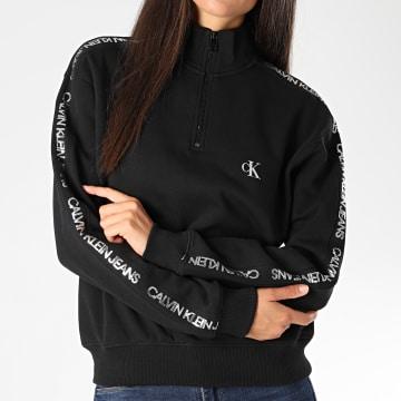 Calvin Klein - Sweat Col Zippé Femme A Bandes Outline Logo 4804 Noir Argenté