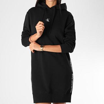 Calvin Klein - Robe Sweat Capuche Femme A Bandes Outline Logo 5181 Noir Argenté