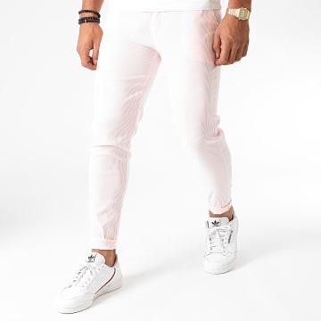 Frilivin - Pantalon A Rayures 1762 Rose Blanc