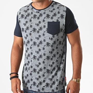 La Maison Blaggio - Tee Shirt Poche Floral Mezel Bleu Marine Chiné