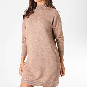 Only - Robe Pull Femme Manches Longues Prime Marron Chiné