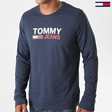 Tommy Jeans - Tee Shirt Manches Longues Corp Logo 9487 Bleu Marine
