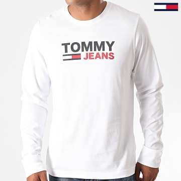 Tommy Jeans - Tee Shirt Manches Longues Corp Logo 9487 Blanc
