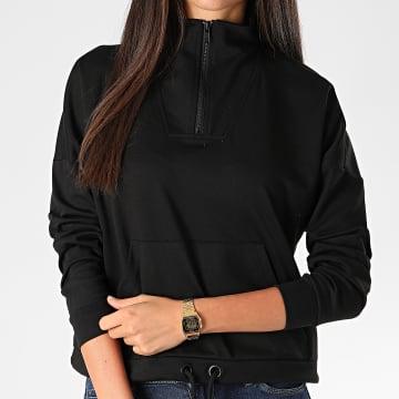 Vero Moda - Sweat Col Zippé Femme Charlie Noir