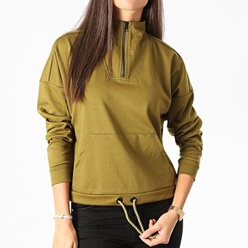 Vero Moda - Sweat Col Zippé Femme Charlie Vert Kaki
