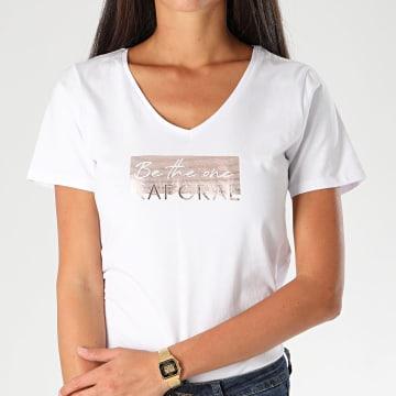 Kaporal - Tee Shirt Slim Femme Col V Aya Blanc