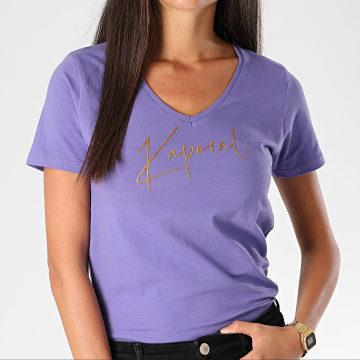 Kaporal - Tee Shirt Slim Femme Col V Azis Mauve Doré