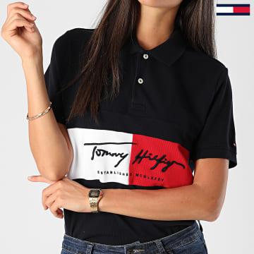Tommy Hilfiger - Polo Manches Courtes Slim Femme Autograph Flag 4159 Bleu Marine