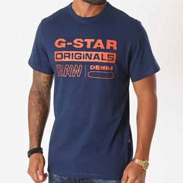 G-Star - Tee Shirt Wavy Logo Originals D17838-B353 Bleu Marine