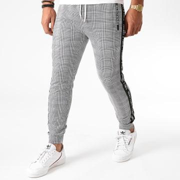Project X - Pantalon A Carreaux Avec Bandes 2040090 Noir Blanc
